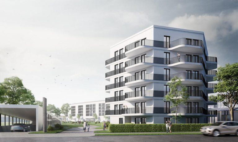 Einzelhandel und Wohngebäude im München - Wohnturm Visualisierung