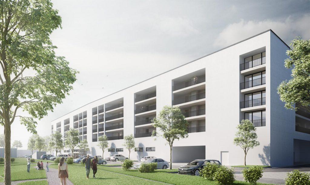 Einzelhandel und Wohngebäude im München - Wohngebäude Visualisierung
